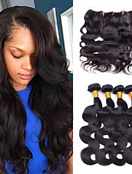 Vinsteen 8A Unprocessed Brazilian Body Wave Human Hair 4Bundles with 13x4 Inch Lace Frontal Closure No Tangle Hair Bundles Natural Color Dyeable