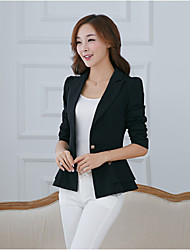 Women's Ruffle Work Simple Spring Fall Blazer,Print Round Neck Long Sleeve Long Others