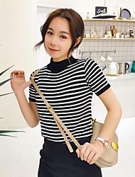 Sign Korean short-sleeved striped knit Korean Fan wild round neck T-shirt female students