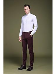 Homme simple Taille Basse Micro-élastique Chino Entreprise Pantalon,Mince Slim Couleur Pleine