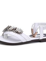 Women's Sandals Summer Fall Slingback Cowhide Office & Career Party & Evening Dress Flat Heel Flower