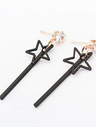 Star Drop Earrings Jewelry Fashion Daily Alloy 1 pair Black