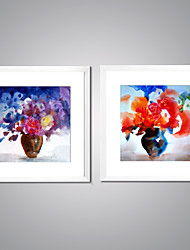 Canvas Prints Abstract Flower Painting Picture Print on Canvas with White Frame for Livingroom Decoration