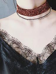 Femme Collier court /Ras-du-cou Collier multi rangs Zircon cubique Chaîne unique Zircon Alliage Durable Couche double Multivoies PorterOr