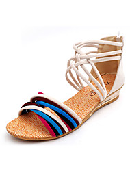 Damen-Sandalen-Lässig-PU-Flacher Absatz-Komfort-Weiß Schwarz