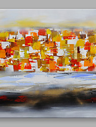 IARTS Hand Painted Modern Abstract Red and Yellow Color Pieces Stretchered Ready to Hang Colorful Art Canvas