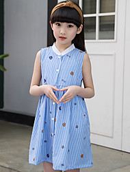 Girl's Cotton Sweet Going out Casual/Daily Holiday Blue White Striped Print Patchwork Princess Dress Cotton Summer Sleeveless