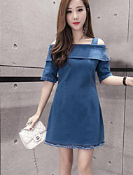 Star denim dress with collar strapless short-sleeved long section bottoming A word skirt