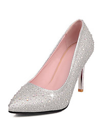 Women's Heels Summer Fall Club Shoes Microfibre Synthetic Office & Career Party & Evening Dress Stiletto Heel Rhinestone