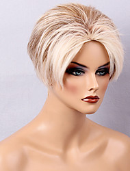 Diy-Wig Short Mixed Color Hair  Natural  Fluffy Human Hair Capless Wigs For Fashionable Women