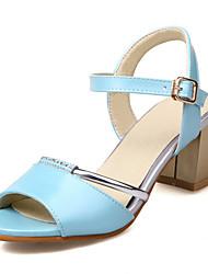 Damen-Sandalen-Outddor Kleid-Kunstleder-Blockabsatz-Komfort Fersenriemen-Weiß Blau Rosa Mandelfarben