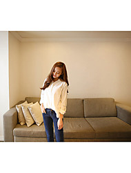 Spring and Autumn new wild female long-sleeved white shirt Korean version of the big yards loose cotton shirt collar cardigan