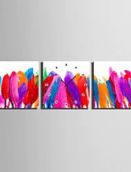 MINI SIZE E-HOME Colourful Feathers Clock in Canvas 3pcs