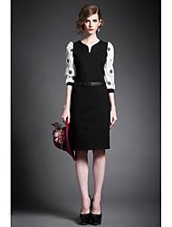 Women's Work Bodycon Dress,Floral V Neck Knee-length ¾ Sleeve Others Summer Mid Rise Micro-elastic Medium