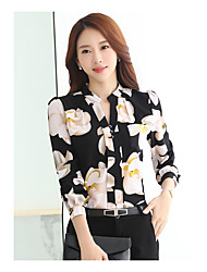 Women's Casual/Daily Simple Spring Shirt,Floral Crew Neck Long Sleeve Polyester Thin