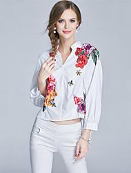 Feminino Camisa Social Para Noite Casual Simples Fofo Moda de Rua Primavera Outono,Floral Algodão Colarinho Chinês Manga Longa Fina