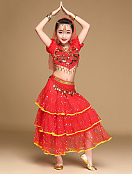 Belly Dance Outfits Kid's Performance Chiffon Gold Coins / Sequins Short Sleeve 5 Pieces Top / Skirt / Hip Scarf / Headwear / Veil