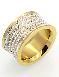 5 Row Cubic Zirconia 11mm Width Stainless Steel Rings For Women Gold Plated Fashion Jewelry