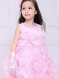 Ball Gown Knee-length Flower Girl Dress - Cotton Organza Satin Sleeveless Jewel with Beading Draping Flower(s) Sash / Ribbon Ruching