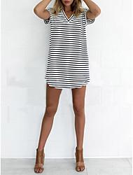 Damen Tunika Kleid-Lässig/Alltäglich Gestreift Rundhalsausschnitt Mini Kurzarm Baumwolle Sommer Mittlere Hüfthöhe Mikro-elastisch Mittel