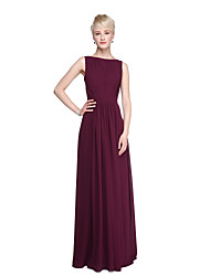 LAN TING BRIDE Floor-length Bateau Bridesmaid Dress - Beautiful Back Furcal Sleeveless Chiffon