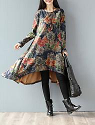 Outono arte e vestido de lã seção longo inverno solto de mangas compridas do vintage de saia chinese vento impressão de lã departamento