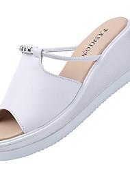 Damen High Heels Sandalen Komfort Gummi Sommer Lässig Keilabsatz Weiß Schwarz 5 - 7 cm