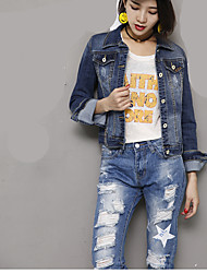 Sign masticate, vertical bamboo patch stretch denim jacket women