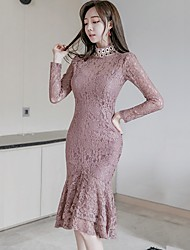 2016 autumn and winter new Korean Women Slim sexy ladies stand collar long-sleeved lace dress fishtail