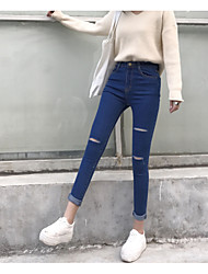 Sign good quality spring and autumn hole cut stretch jeans female waist Slim pencil pants feet pants