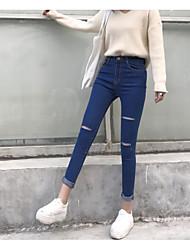 знак хорошего качества весной и осенью отверстие вырезать стрейч джинсы женщина талии тонкий карандаш брюки ноги штаны