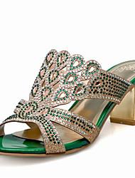 Women's Sandals Summer Club Shoes Glitter Customized Materials Wedding Party & Evening Dress Chunky Heel Rhinestone Sparkling Glitter