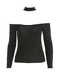 Damen Solide Sexy / Einfach Lässig/Alltäglich T-shirt,Bateau Herbst Langarm Beige / Schwarz / Grün Baumwolle