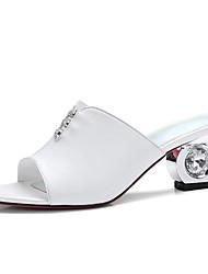 Women's Sandals Slingback Sheepskin Summer Fall Dress Casual Rhinestone Chunky Heel White Green 2in-2 3/4in
