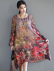 2017 Sign spring and summer national wind retro silk printing large size long-sleeved dress