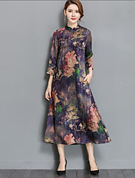 2017 spring new women's silk dress 100% Silk printing large size heavy silk dress