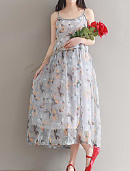 Women's Going out Swing Dress,Floral Strap Midi Sleeveless Polyester Summer High Rise Inelastic Thin
