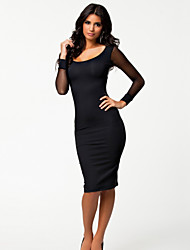 # Outside the single European and American serpentine leather stitching hit the net yarn package hip Slim sexy dress