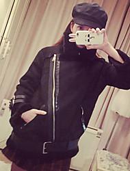 Для женщин На каждый день Зима Пальто с мехом Рубашечный воротник,Очаровательный Секси Однотонный Обычная Длинный рукав,Шерсть,Меховая