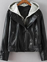 Women's Going out Casual/Daily Work Street chic Sophisticated Spring Fall Leather Jacket,Color Block Hooded Long Sleeve Short PU