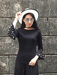 Sign spring new Korean Slim beaded cuff speaker sleeve shirt long sleeve shirt female head