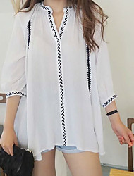 2017 new Korean retro fold leaf embroidery cotton V-neck shirt and long loose shirt