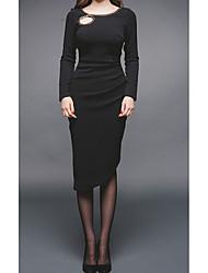 2017 осень новый корейский версия была тонкой с длинными рукавами вокруг шеи тонкий моды цепи декоративные нитки пустым платье