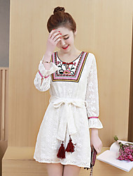 Sign 2017 spring new national wind retro fringed lace embroidered floral lace dress Korean Women