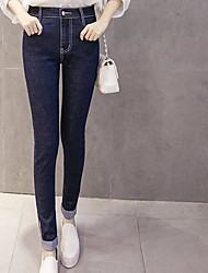 Damen Einfach Hohe Hüfthöhe Dehnbar Jeans Skinny Hose einfarbig