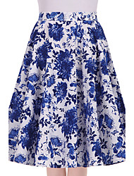 Women's Blue and White Floral Going out Casual/Daily Knee-length Skirts Vintage Swing Dress All Seasons Mid Rise