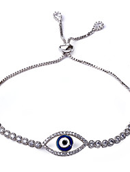 Hot Selling Evil Eye CZ Bracelet for Women Rhodium or Gold-color Adjustable Easy Wearing Lead Free Braccialetto Max 23cm