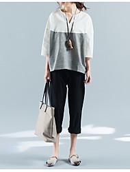 Sinal 2017 primavera e verão algodão v-pescoço t-shirt costura t-shirt solto
