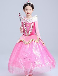 Ball Gown Tea-length Flower Girl Dress - Polyester Tulle Flocking High Neck with Ruffles