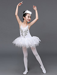 Ballet Dresses Kid's Performance Spandex Tulle Paillettes Ruffles 2 Pieces Sleeveless High Dress / Headpieces Girl's Dance Costume White
